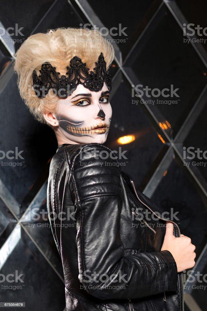 beautiful girl with make-up posing stock photo