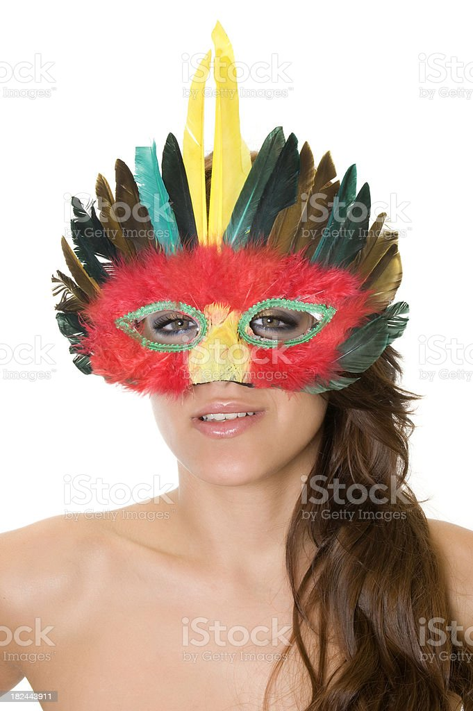 Beautiful girl with mardi gras mask royalty-free stock photo