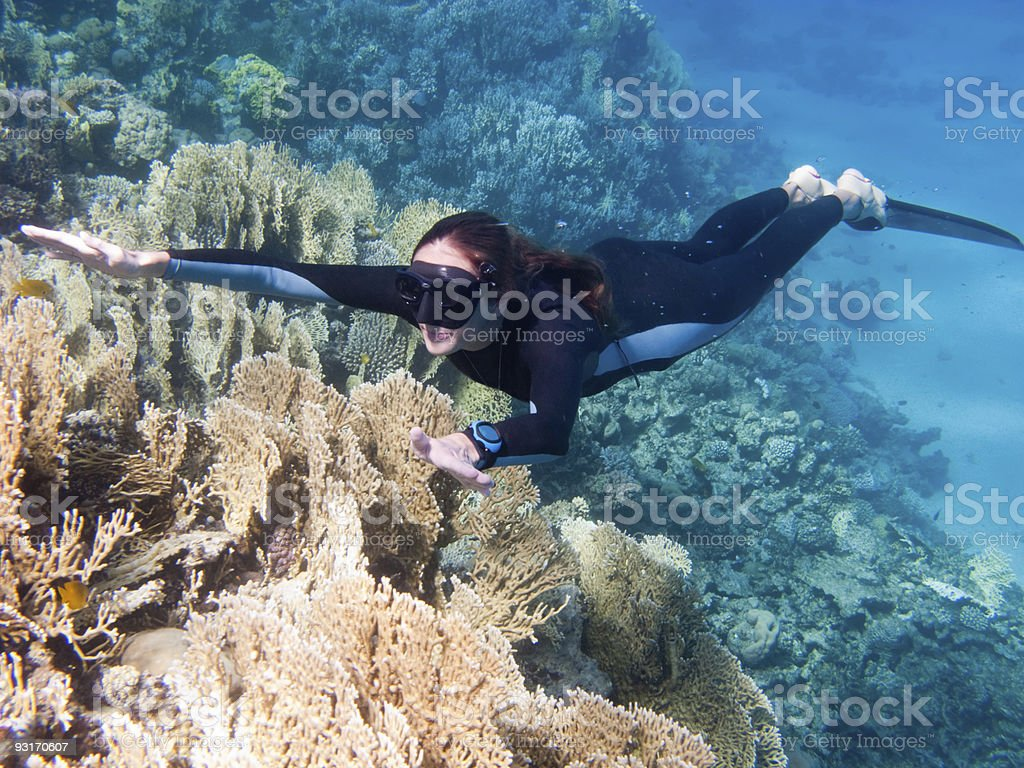 Beautiful girl with monofin swims above corals stock photo