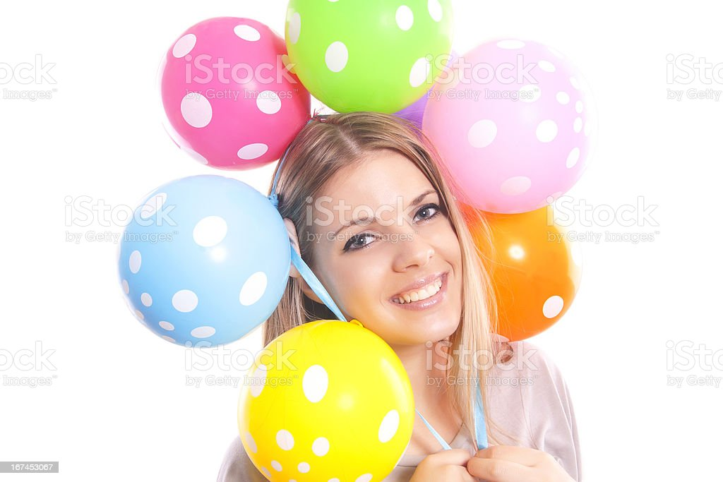 beautiful girl with multicolored balloons royalty-free stock photo