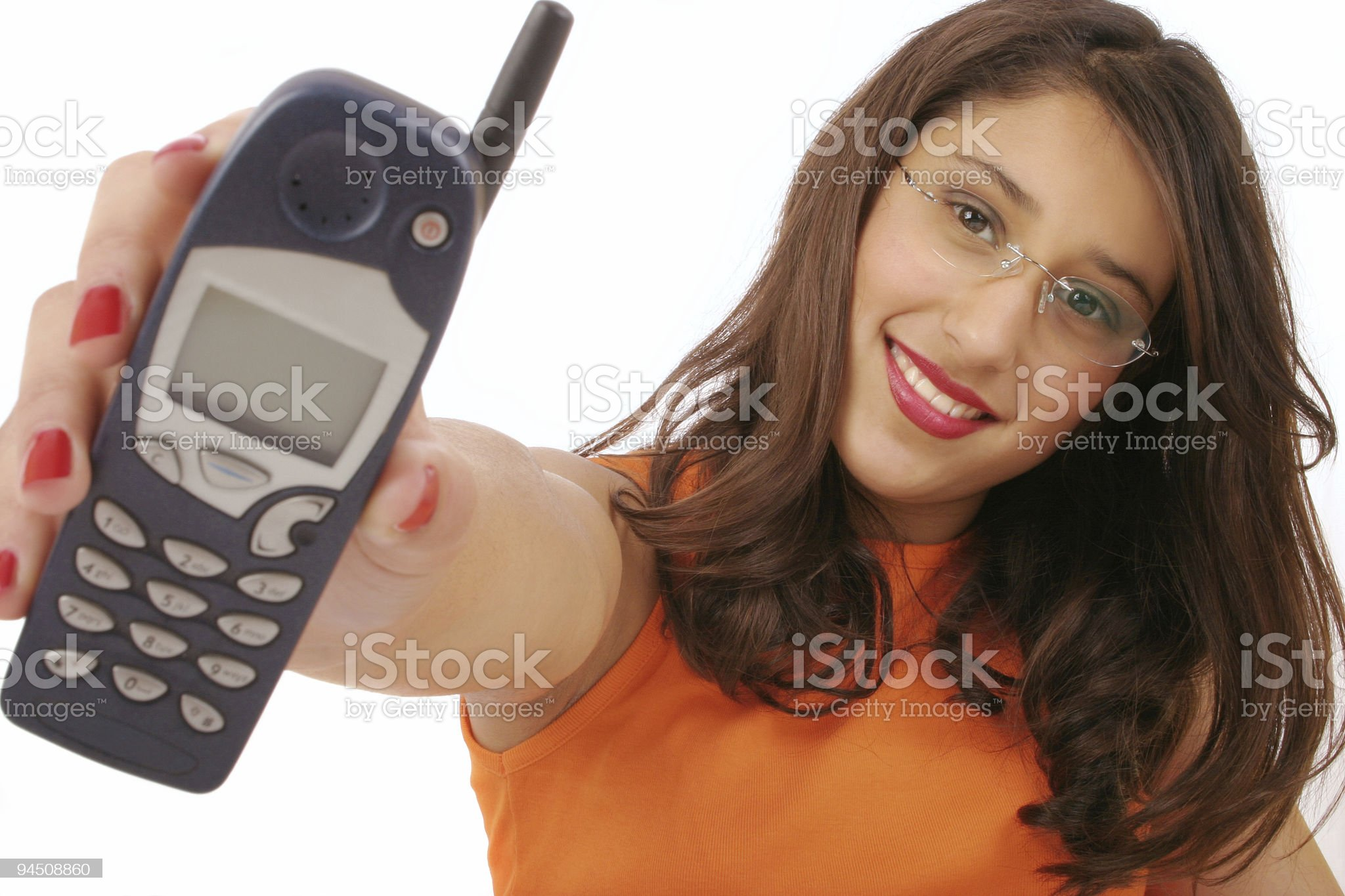Beautiful girl with old mobile phone royalty-free stock photo