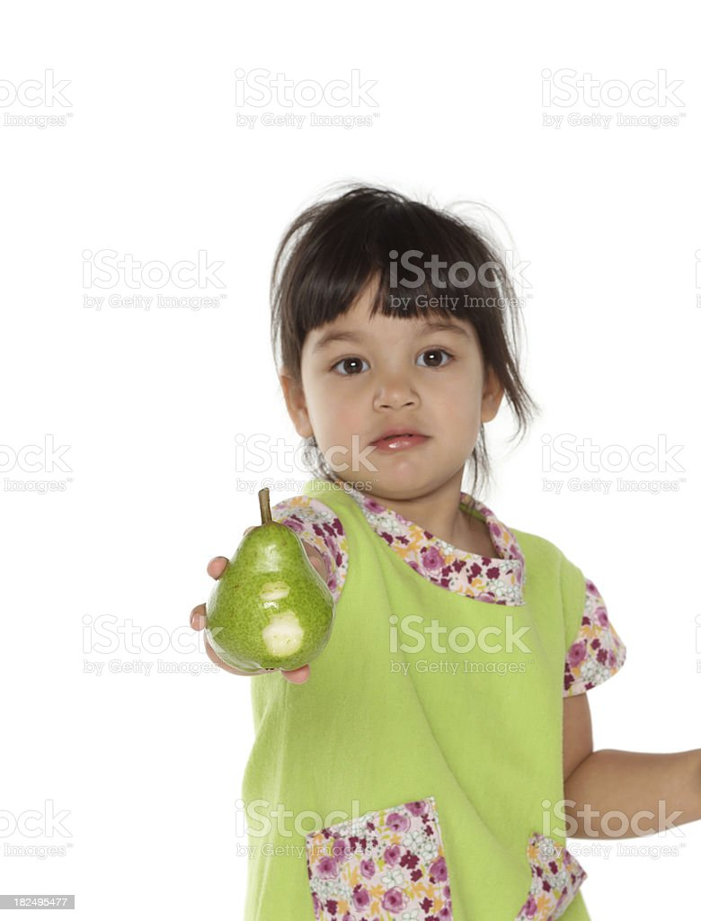 beautiful girl with pear fruit stock photo