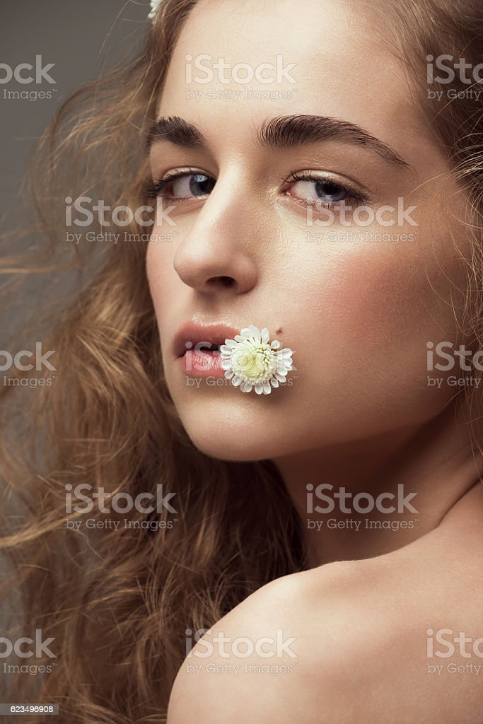 Beautiful girl with perfect healthy skin stock photo
