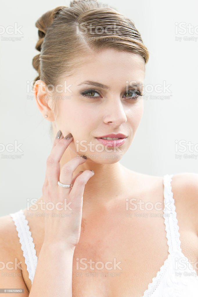 Beautiful girl with perfect skin and face stock photo