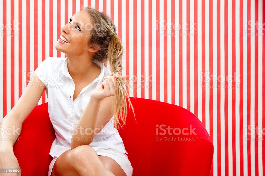 Beautiful girl with ponytail red portrait royalty-free stock photo