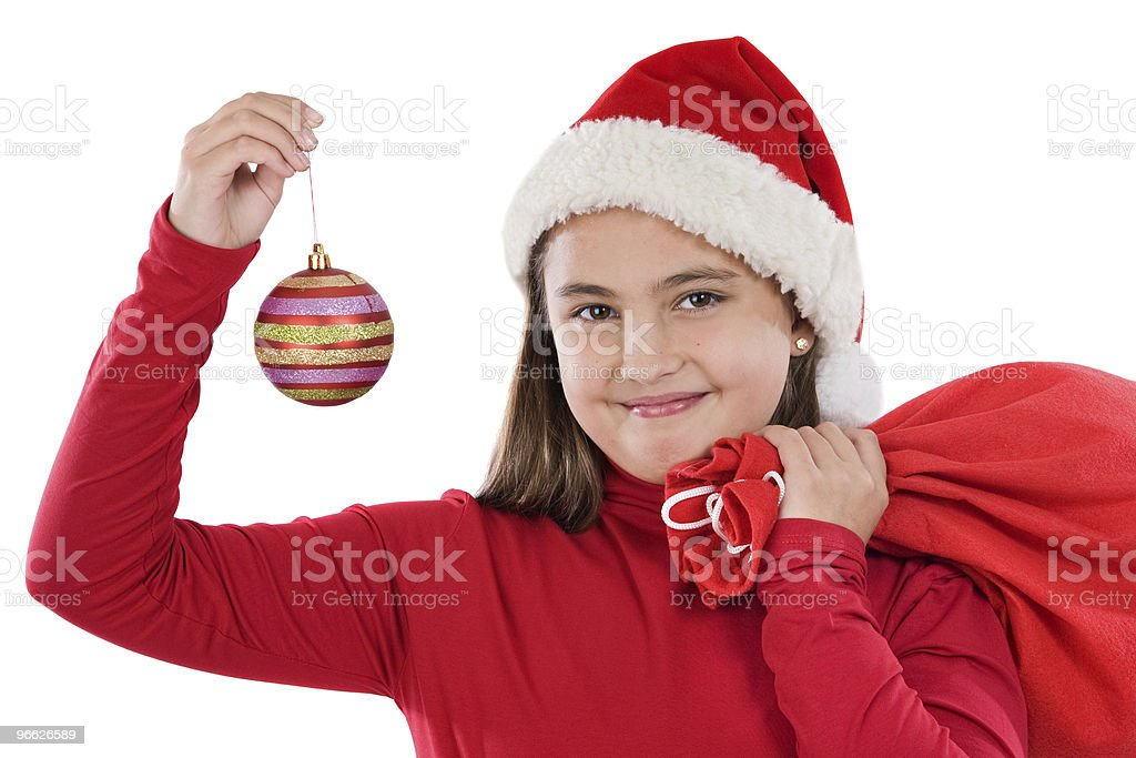 Beautiful girl with red ball of christmas royalty-free stock photo