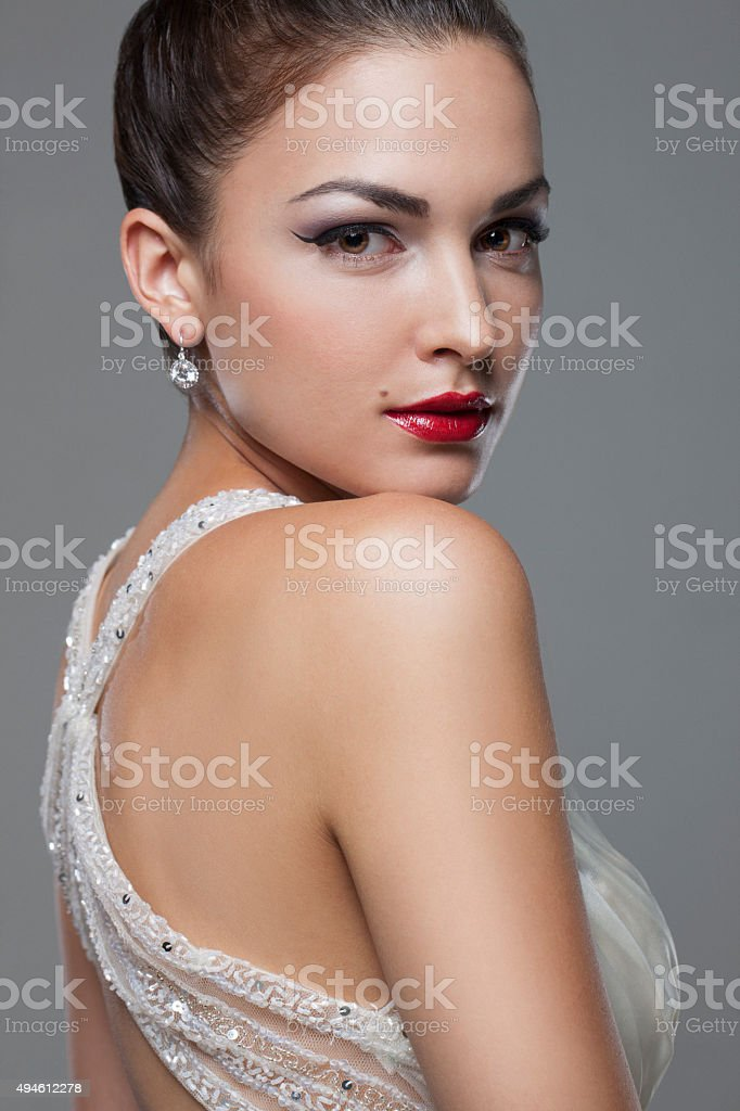 Beautiful Girl with Red Lipstick stock photo