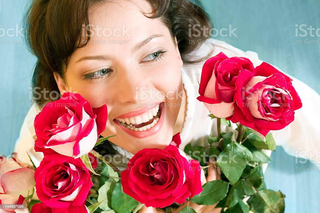 beautiful girl with roses royalty-free stock photo