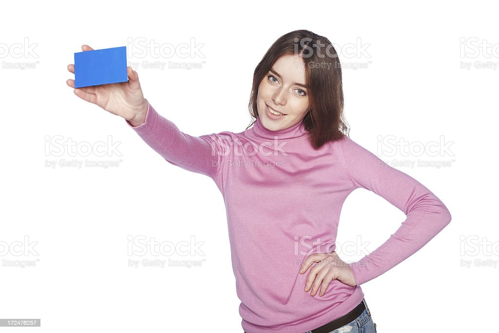 Beautiful girl with small blank blue banner in right hand. royalty-free stock photo
