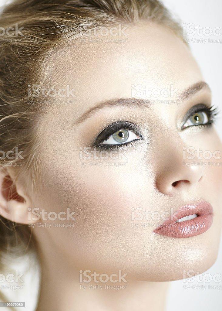 Beautiful girl with smokey eye stock photo
