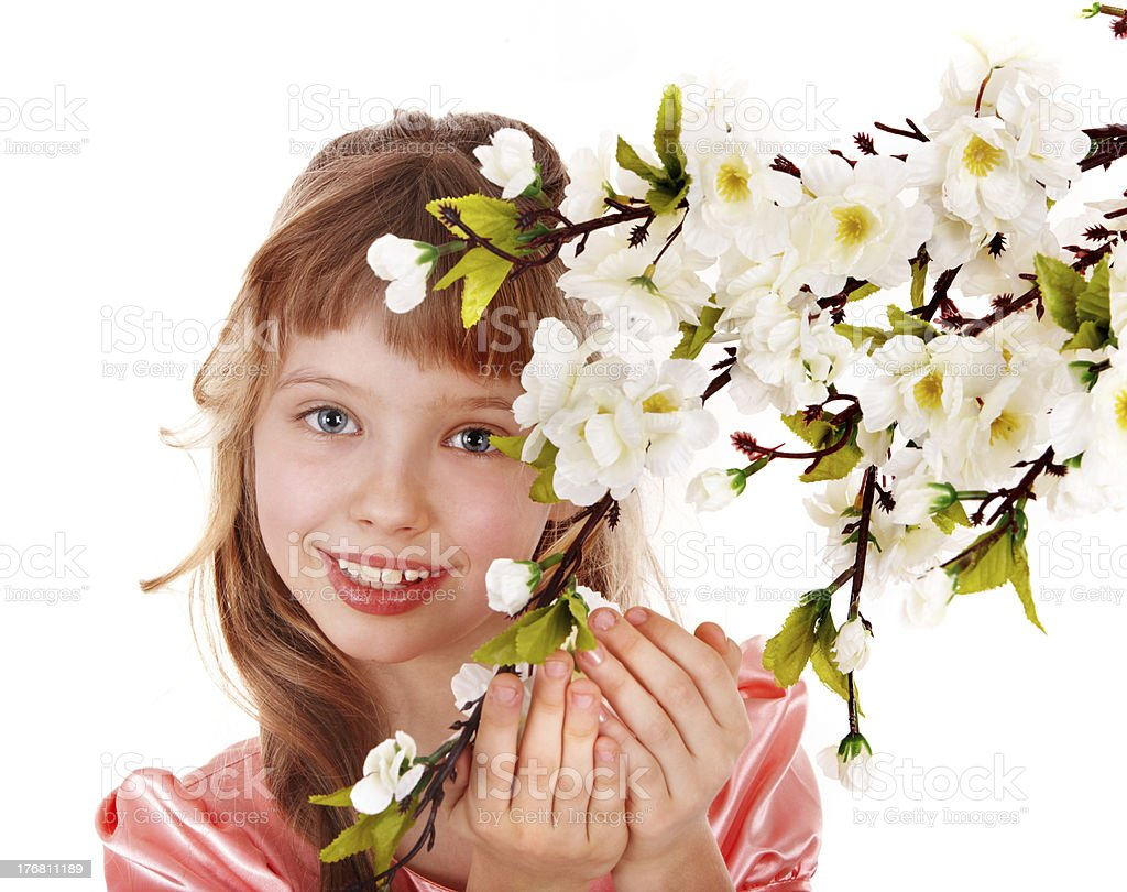 Beautiful girl with spring flower. royalty-free stock photo