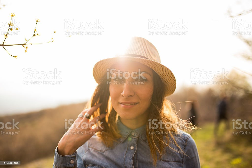 Beautiful Girl with the hat and jewelry stock photo