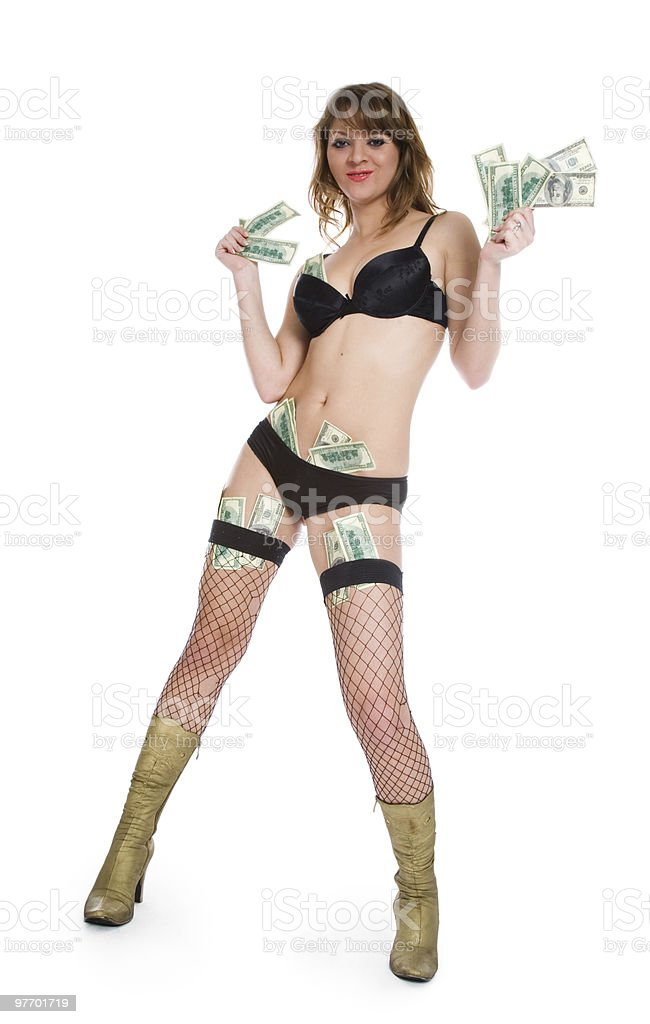 beautiful girl with the money royalty-free stock photo