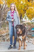 Beautiful girl with tibetan mastiff on the nature