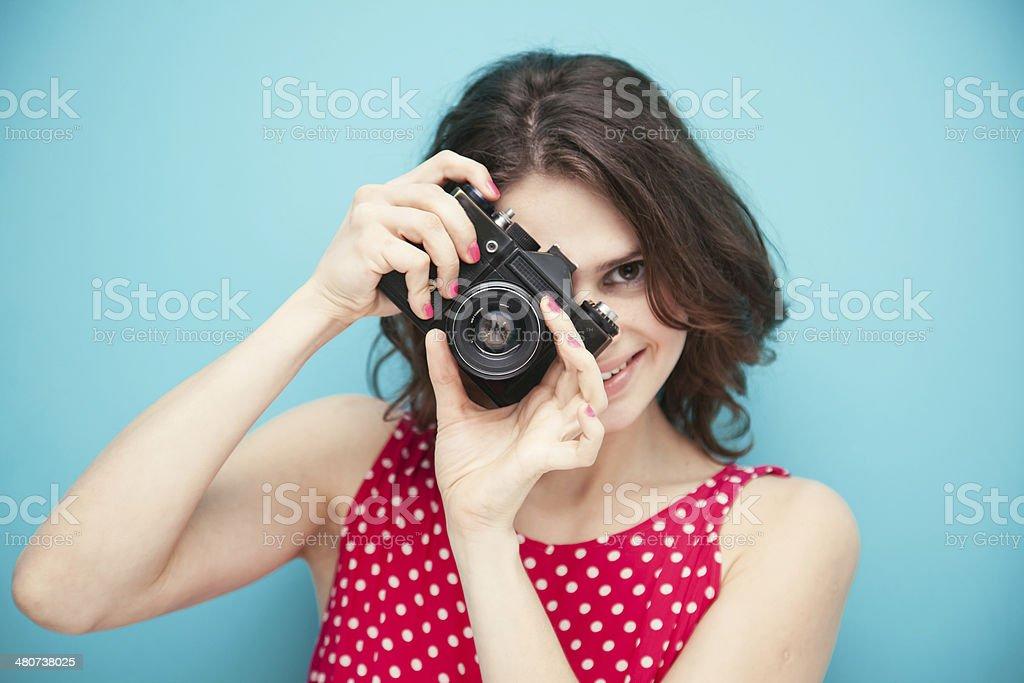 beautiful girl with vintage photo camera stock photo