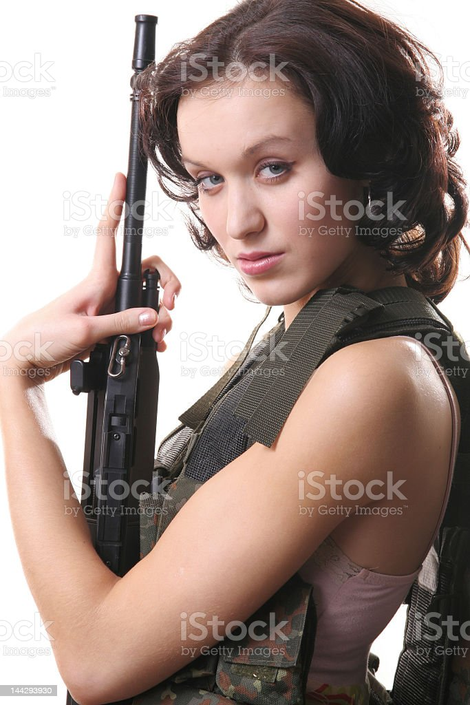 Beautiful girl with weapon royalty-free stock photo