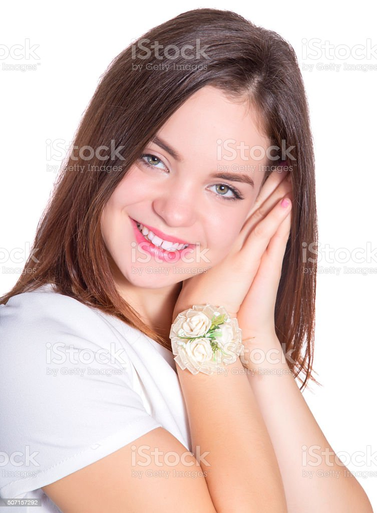 beautiful girl with wedding detail royalty-free stock photo