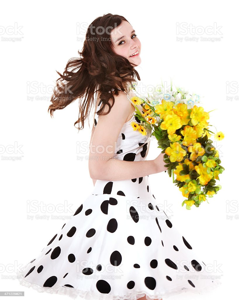 Beautiful girl with wild flower. royalty-free stock photo