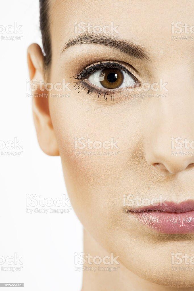 beautiful girl's face close-up stock photo