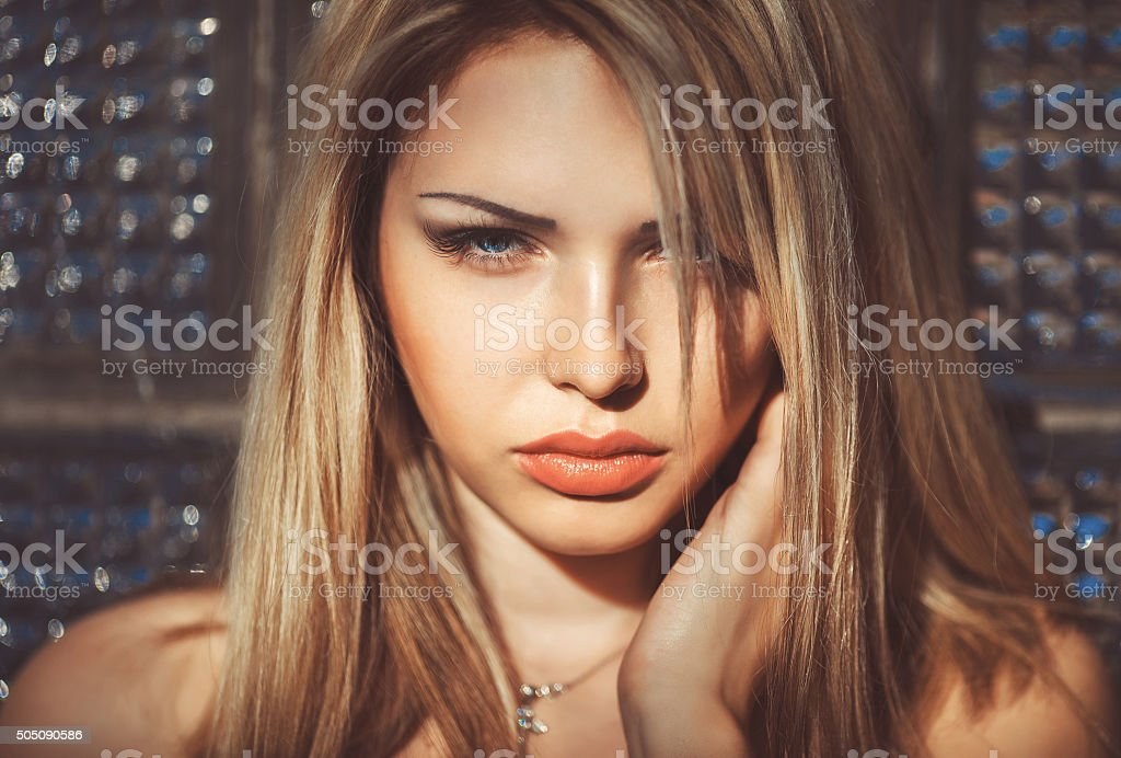 Beautiful Girl's Face. stock photo