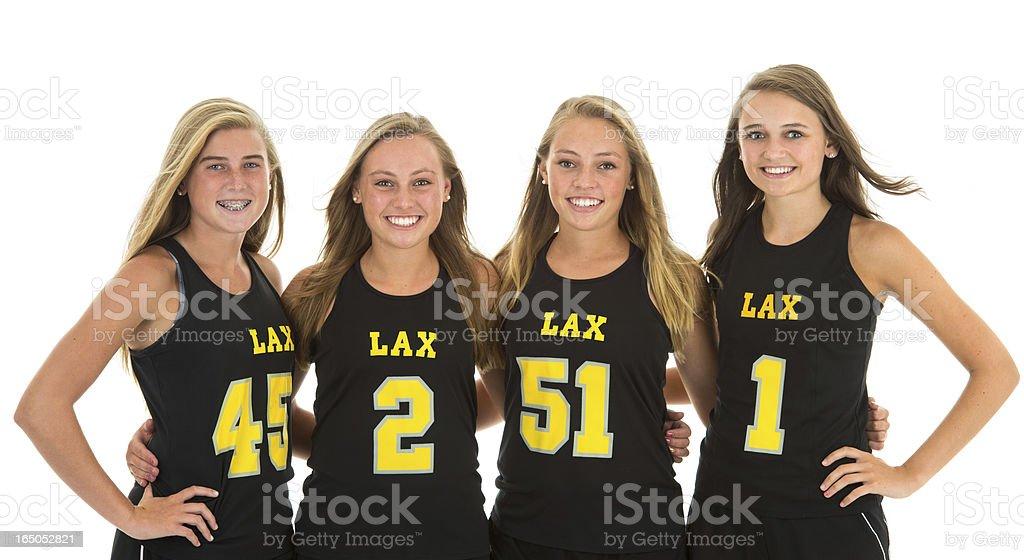 Beautiful Girls Lacrosse Team Portrait in Studio stock photo