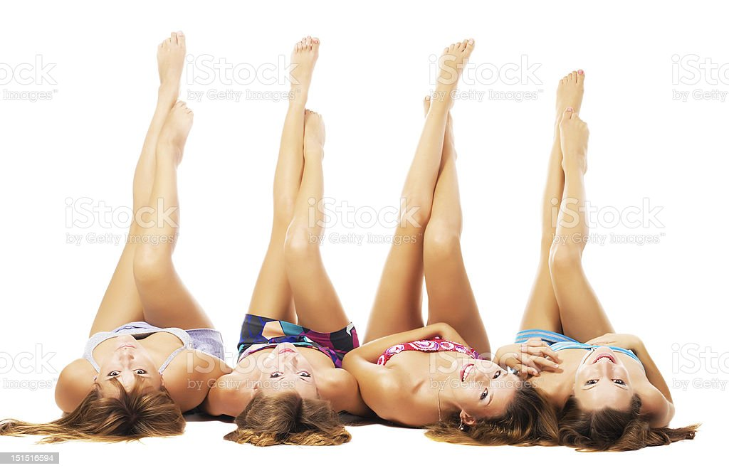 Beautiful girls with perfect bodies stock photo