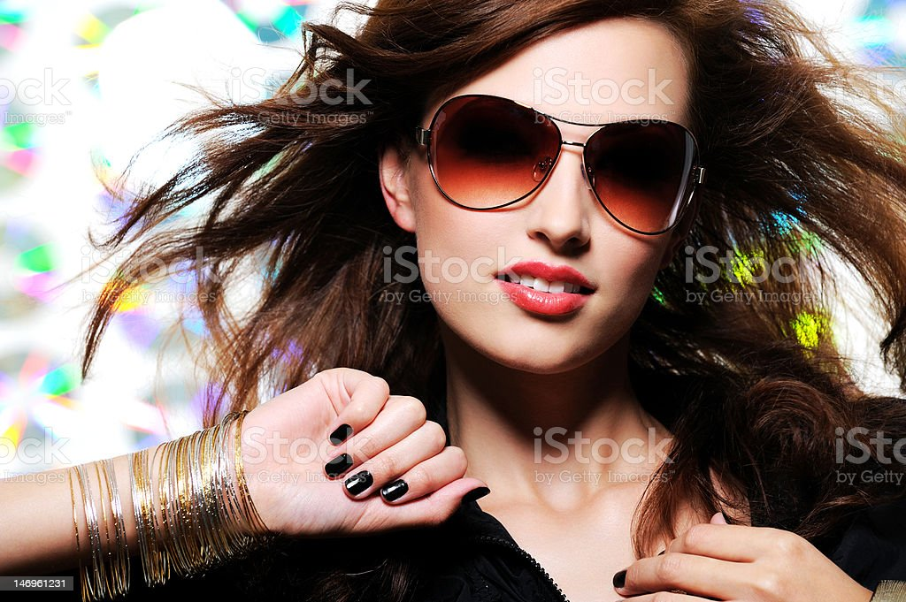 beautiful glamour fashionable woman in sunglasses royalty-free stock photo
