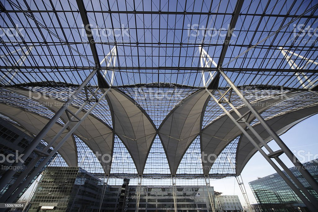 beautiful glass ceiling with business buildings XXXL stock photo