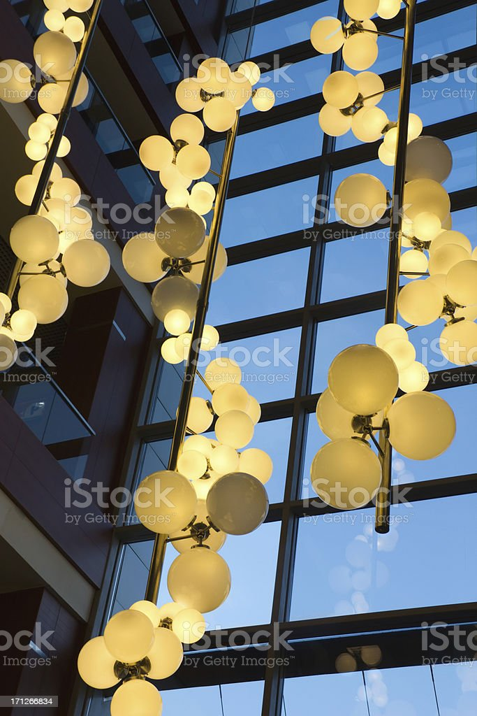 beautiful glowing lights in the building royalty-free stock photo