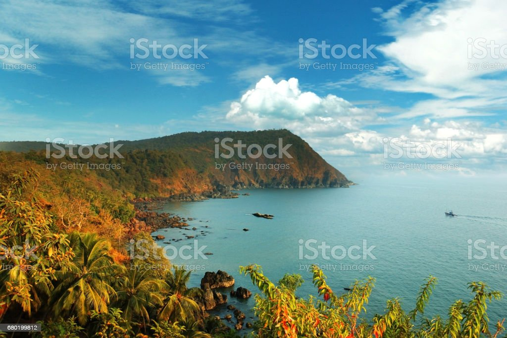 beautiful Goa view from high, Agonda, India stock photo