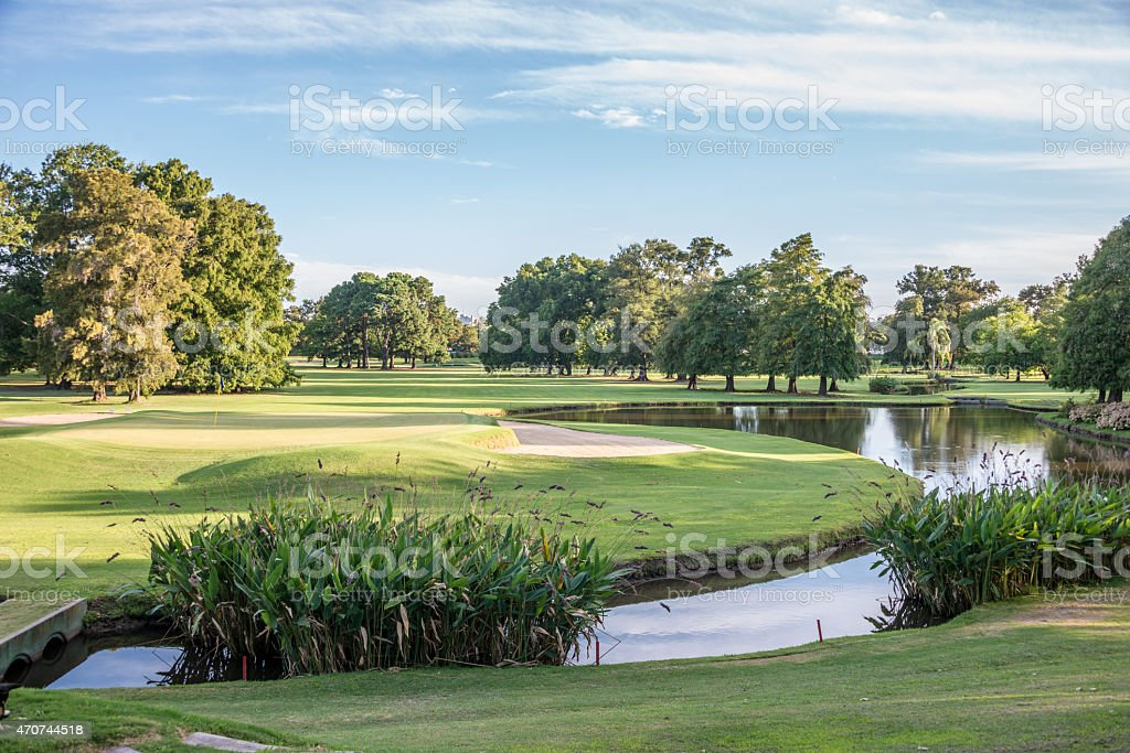 A beautiful gold course photographed during the day stock photo