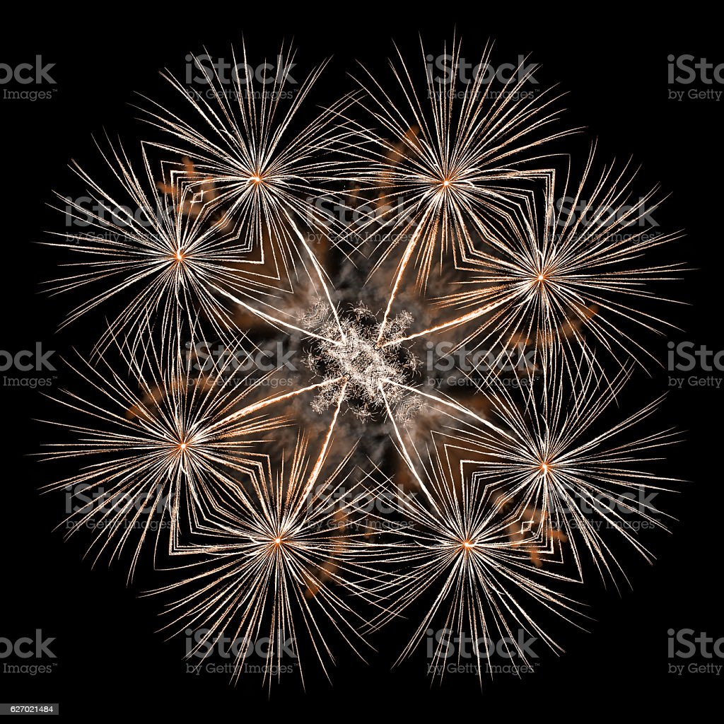 Beautiful gold firework pyrotechnic effects surreal shaped in symmetrical kaleidoscope stock photo
