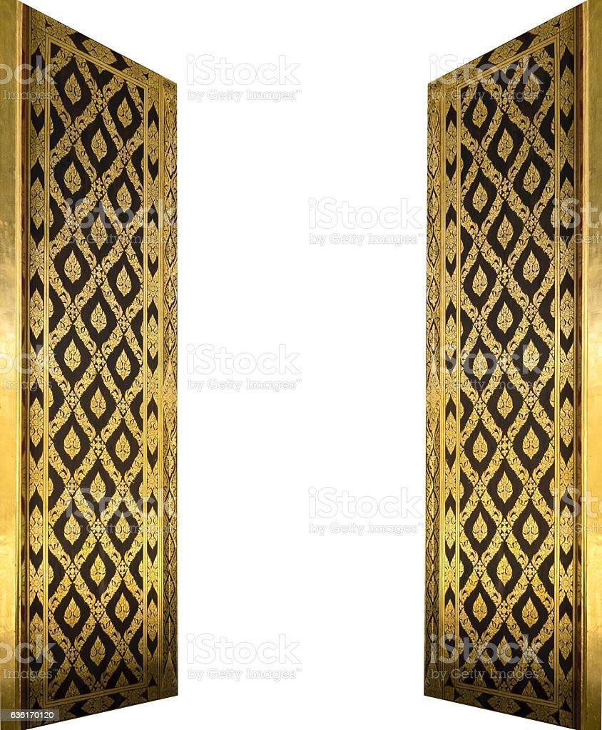 Beautiful  Golden Doors Isolated on White Background stock photo