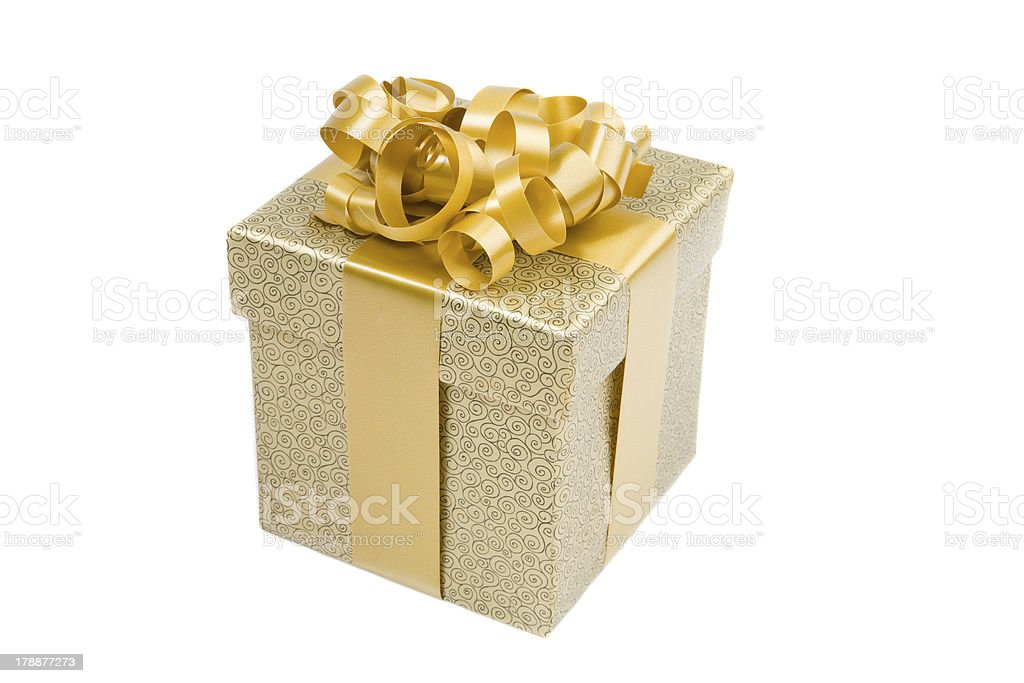 Beautiful golden gift royalty-free stock photo