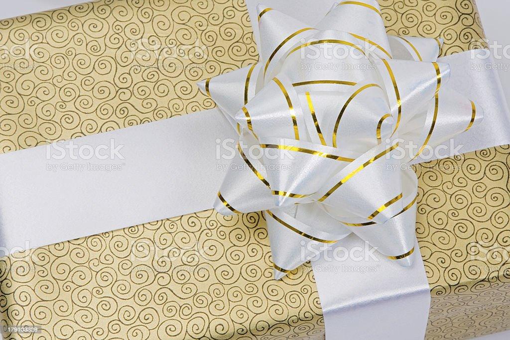 Beautiful golden gift royalty-free stock photo
