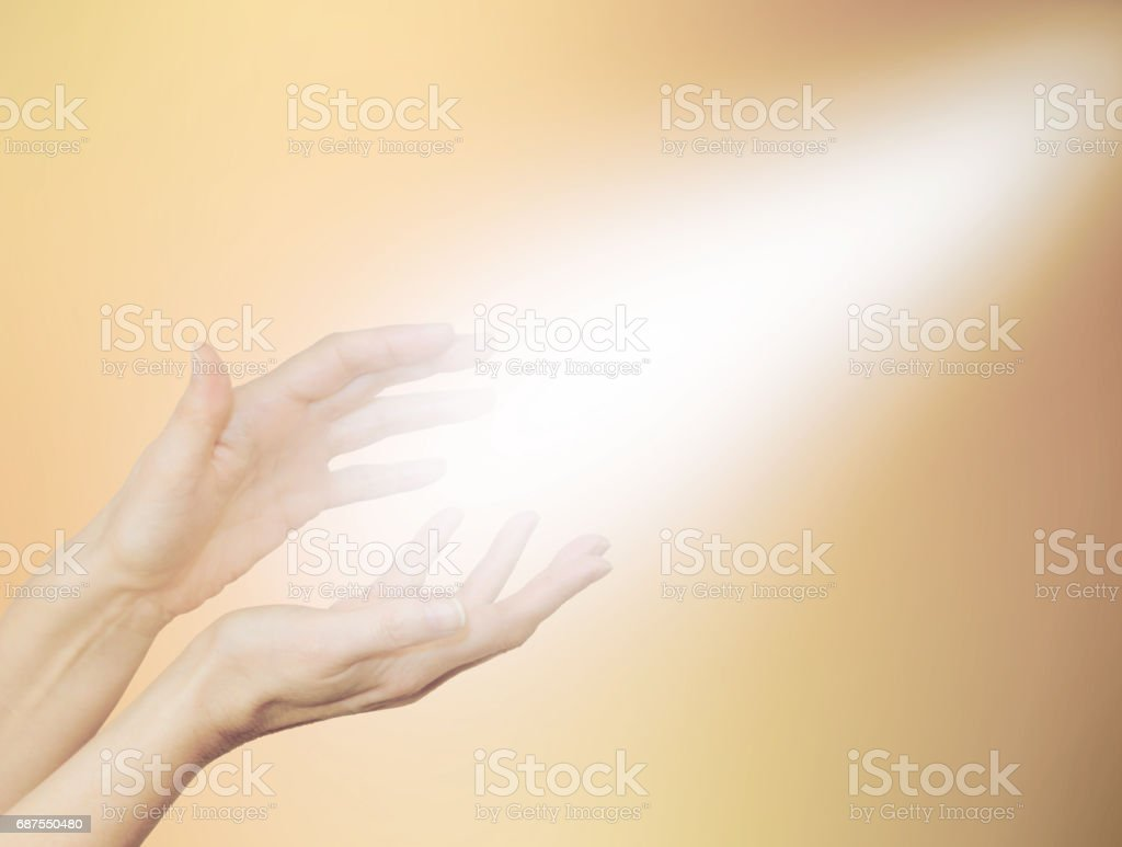 Beautiful Golden Healing Energy stock photo