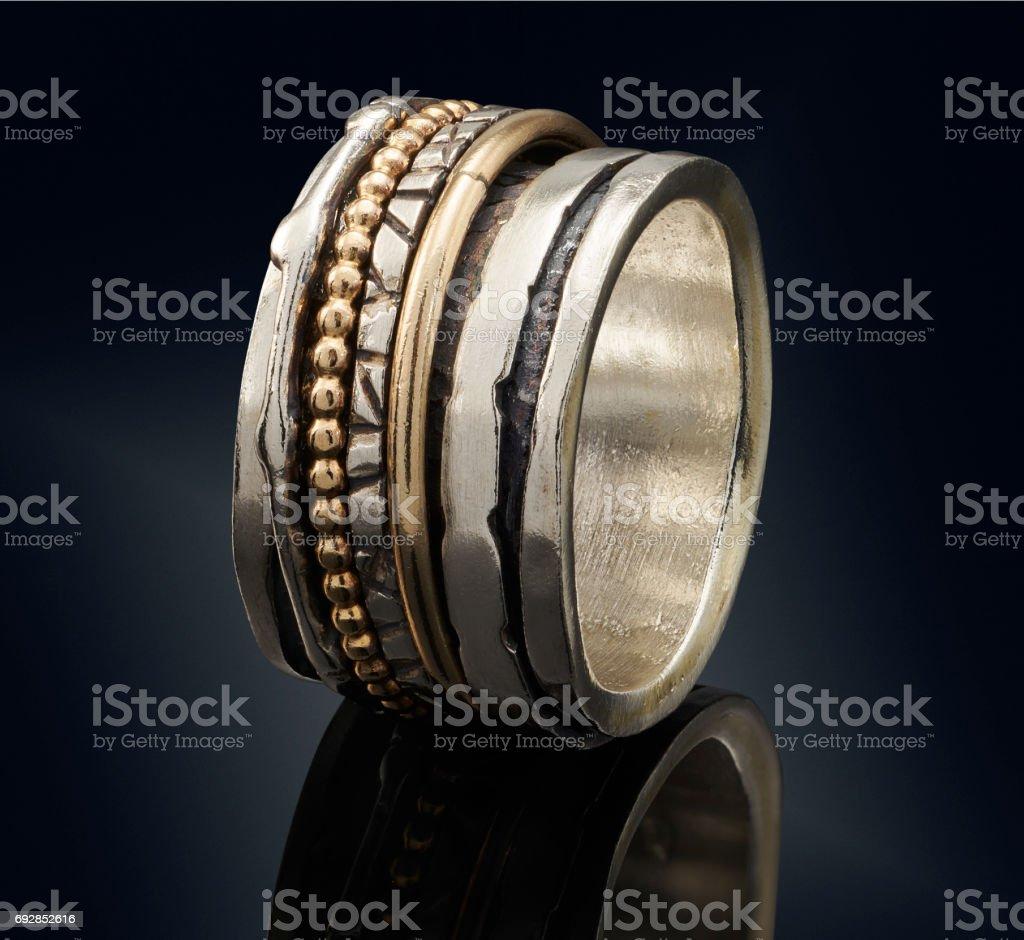 beautiful Golden ring isolated on black background stock photo