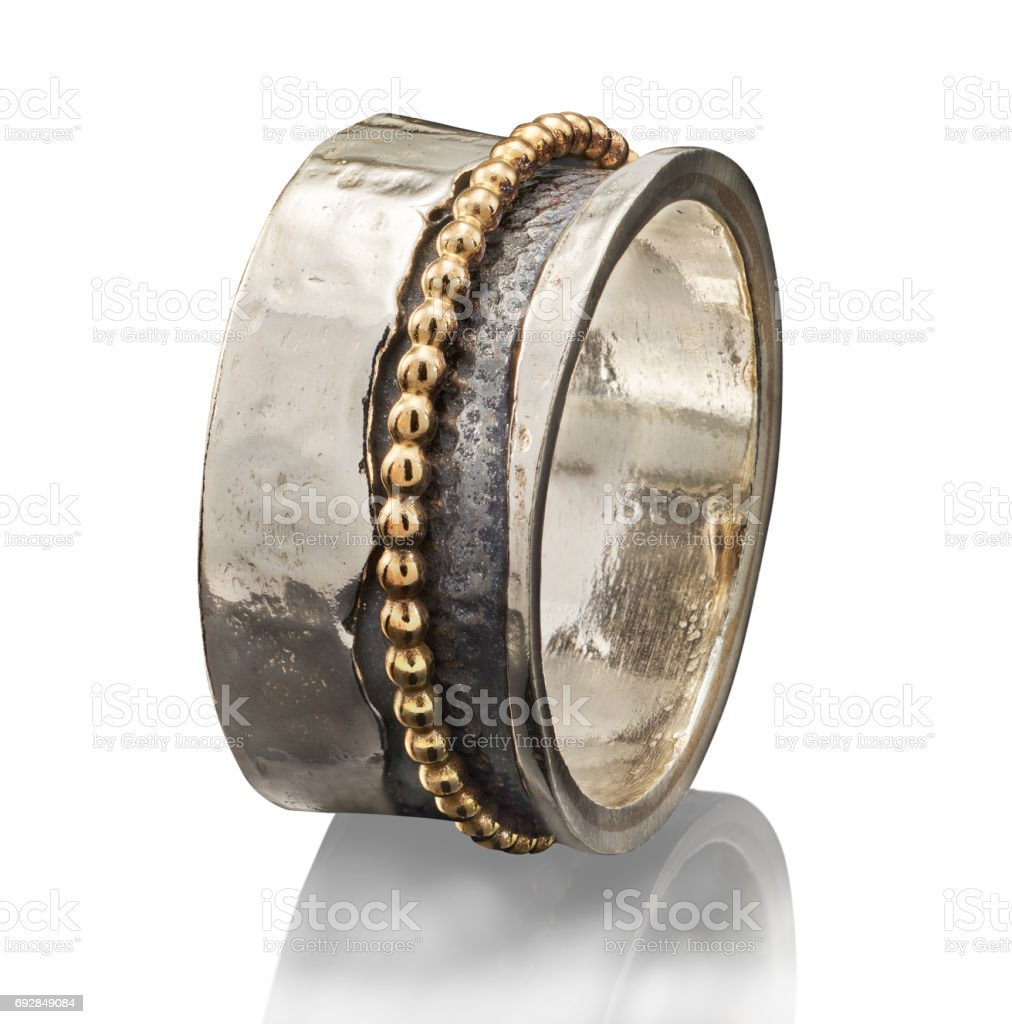 beautiful Golden ring isolated on white background stock photo