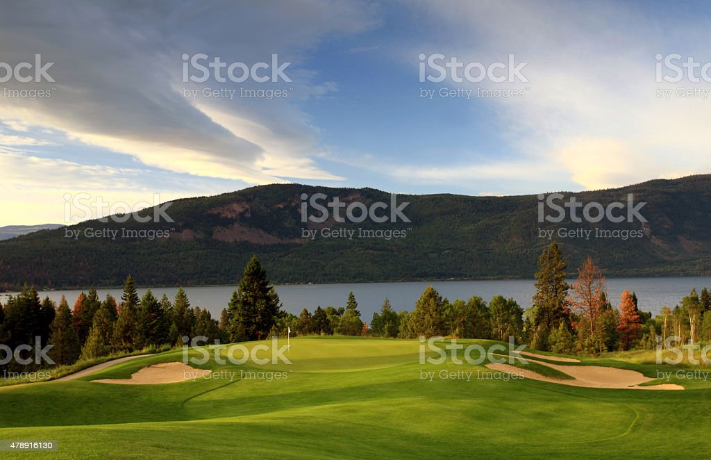 Beautiful Golf Course By Lake in British Columbia stock photo