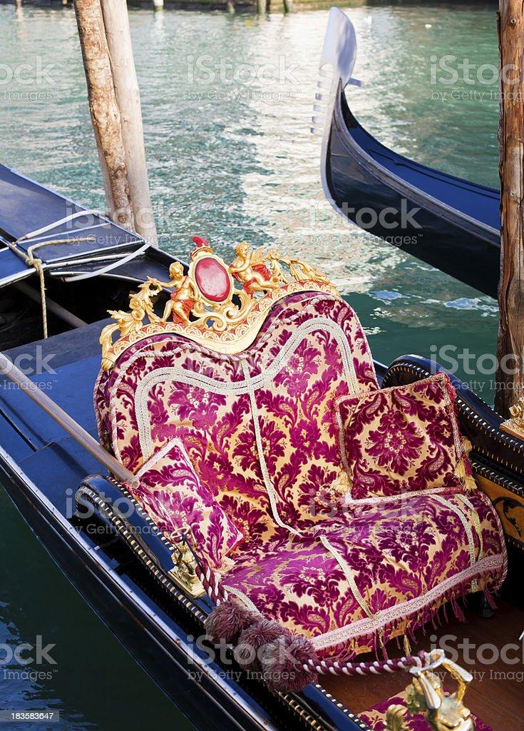 Beautiful Gondola Seat in Venice, Italy royalty-free stock photo