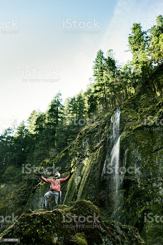 Beautiful Gorge with Excited Hiker Visible stock photo