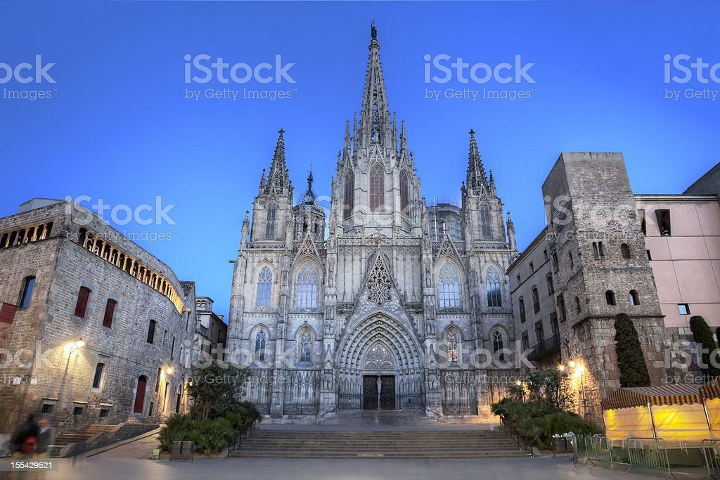 A beautiful gothic cathedral in Barcelona stock photo