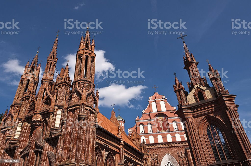 Beautiful Gothic Style St. Anne Church in Vilnius stock photo