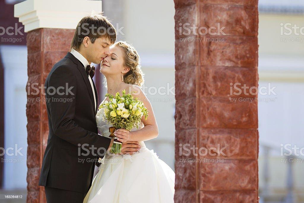 Beautiful graceful happy couple kissing newlyweds royalty-free stock photo