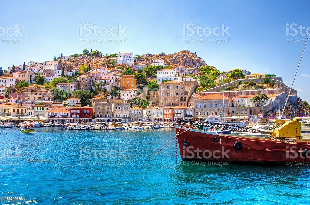 Beautiful Greek island, Hydra stock photo