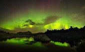 beautiful green and red aurora dancing