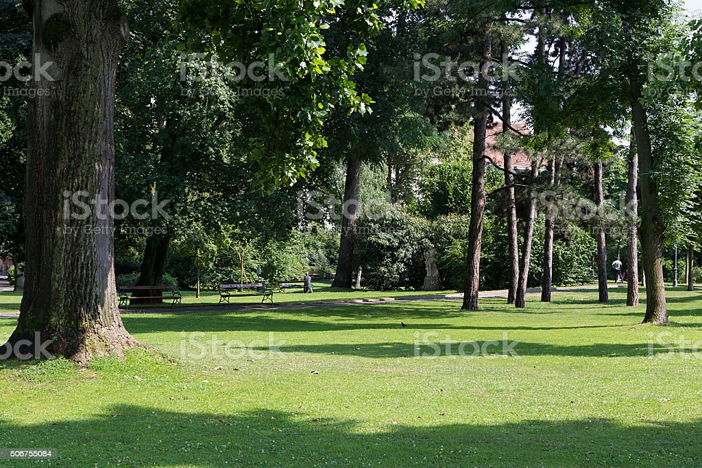 Beautiful green city park in Grugapark Essen stock photo