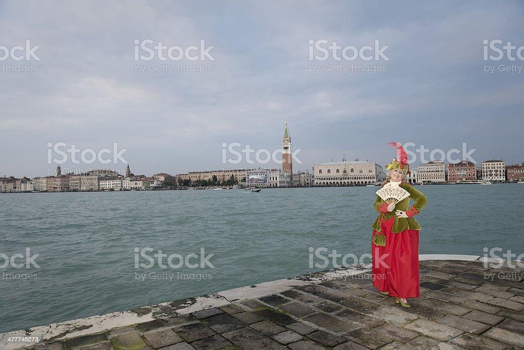 Beautiful Green Mask, Venice Carnival at San Giorgio, Italy, Europe stock photo