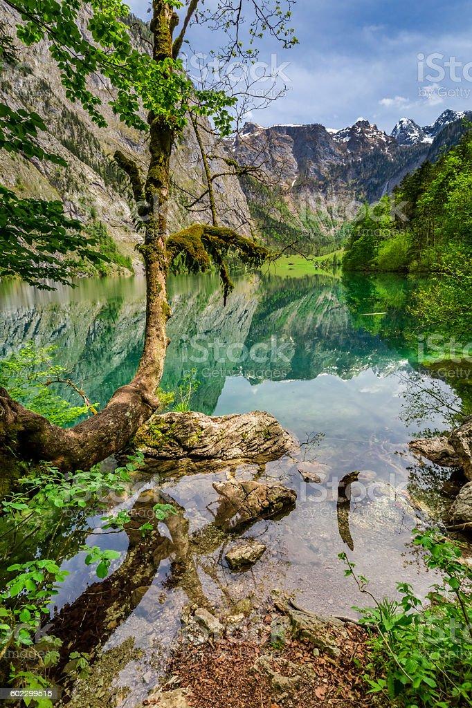 Beautiful green mountain lake in Alps, Germany stock photo