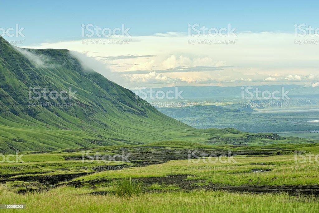 Beautiful green rift valley view from Ol Doinyo Lengai stock photo